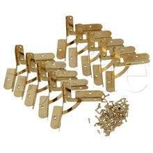 Oro muebles vintage del armario del Gabinete bisagras planas con tornillos conjunto de 10 de hierro