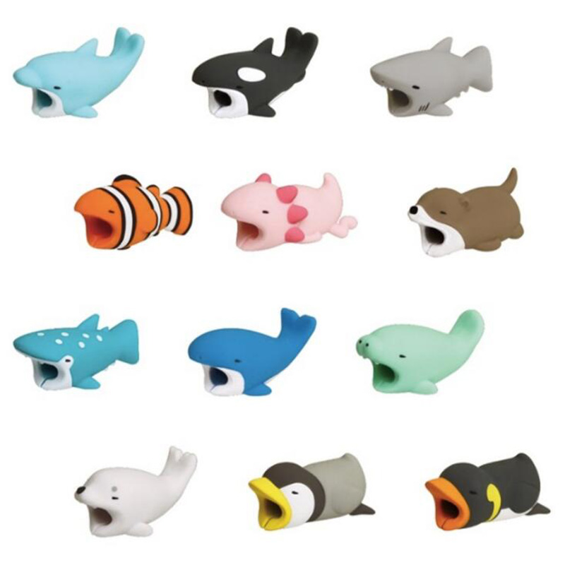 1Pcs Cute Animal Bites Anti-Break USB Data Cable Protector Universal Cable Winder Saver