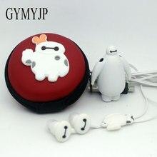 2017 nova Baymax Minions Anime Esportes MP3 player de música com fone de ouvido e bolsa