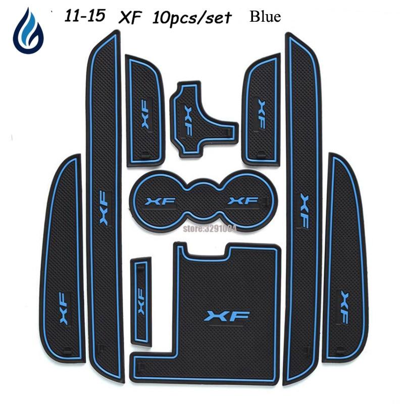 Car Door groove mat For Jaguar XF 2011-2015 Accessories3D Rubber Car Mat Gate slot pad Non-slip mats Car decoration 10PCS