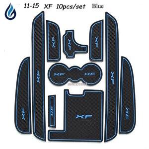 Image 1 - Car Door groove mat For Jaguar XF 2011 2015 Accessories,3D Rubber Car Mat Gate slot pad Non slip mats Car decoration 10PCS