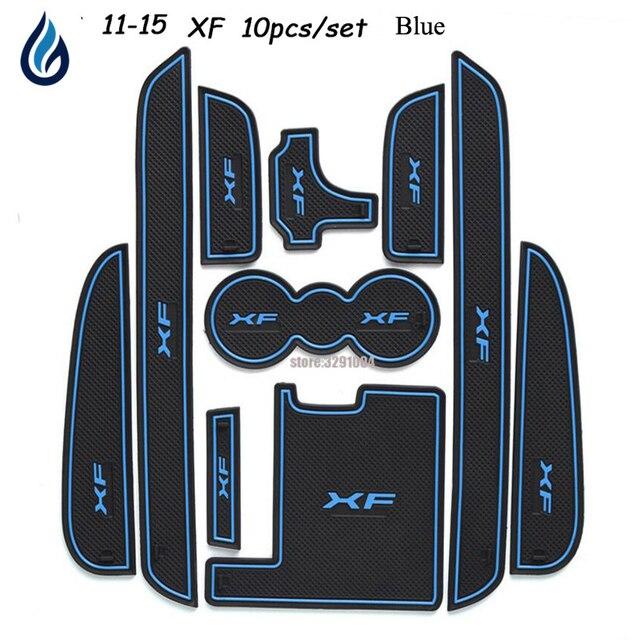 Car Door groove mat For Jaguar XF 2011 2015 Accessories,3D Rubber Car Mat Gate slot pad Non slip mats Car decoration 10PCS