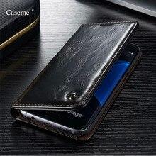 Роскошный чехол для Samsung Galaxy S4/5/6/7/S6 края плюс/S7 EDGE/ Примечание 5 4/A3 2016/A7 caseme брендовая натуральная кожа магнит кошелек