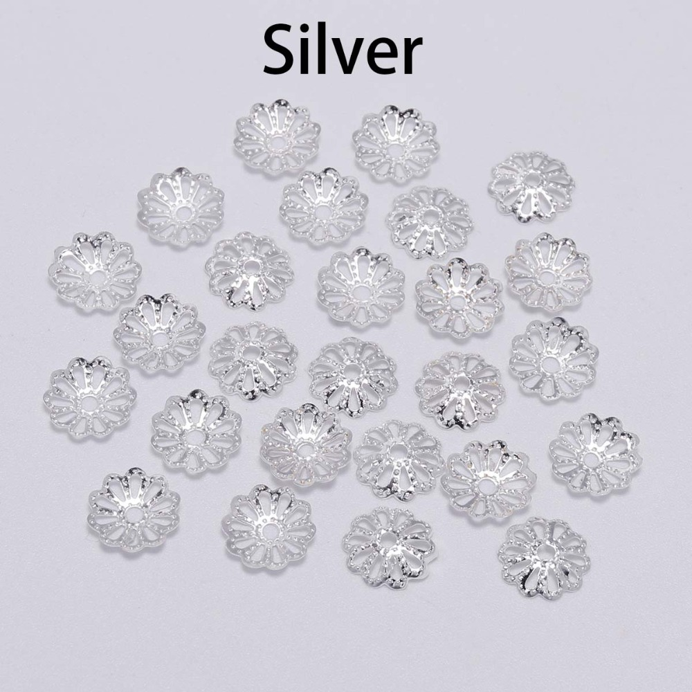 UNICRAFTABLE 300pcs Stainless Steel Bead Caps More-Petal Flower Spacer Bead Golden 2mm Hole Cone End Caps Jewelry Findings Accessories for Bracelet Necklace Jewelry Making 7x2mm