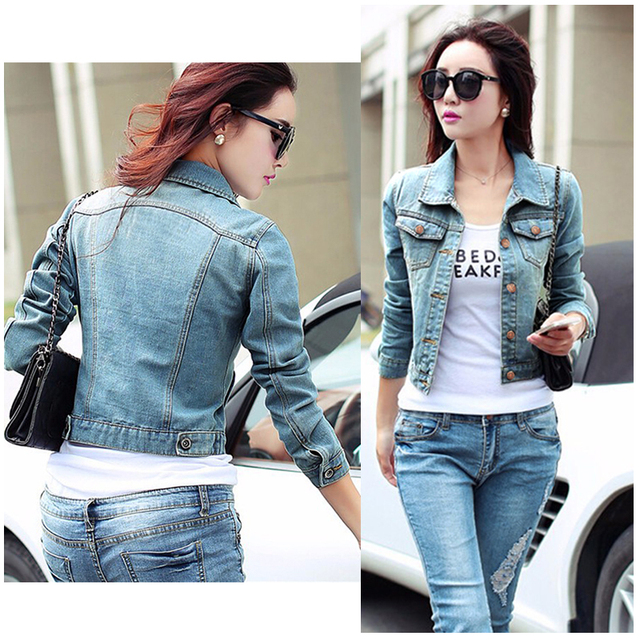 ff20d86c363 2017 Spring Summer New Arrival Fashion Women Denim Jacket Lady Baisc Slim  Coat Short Top Long Sleeve Denim Jacket Jean Outerwear