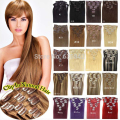 "Clip en Extensiones de Cabello 20 ""50 cm 70g 100g 120g Recta Real Cabello Humano Natural Negro castaño Rubio Color Disponible"
