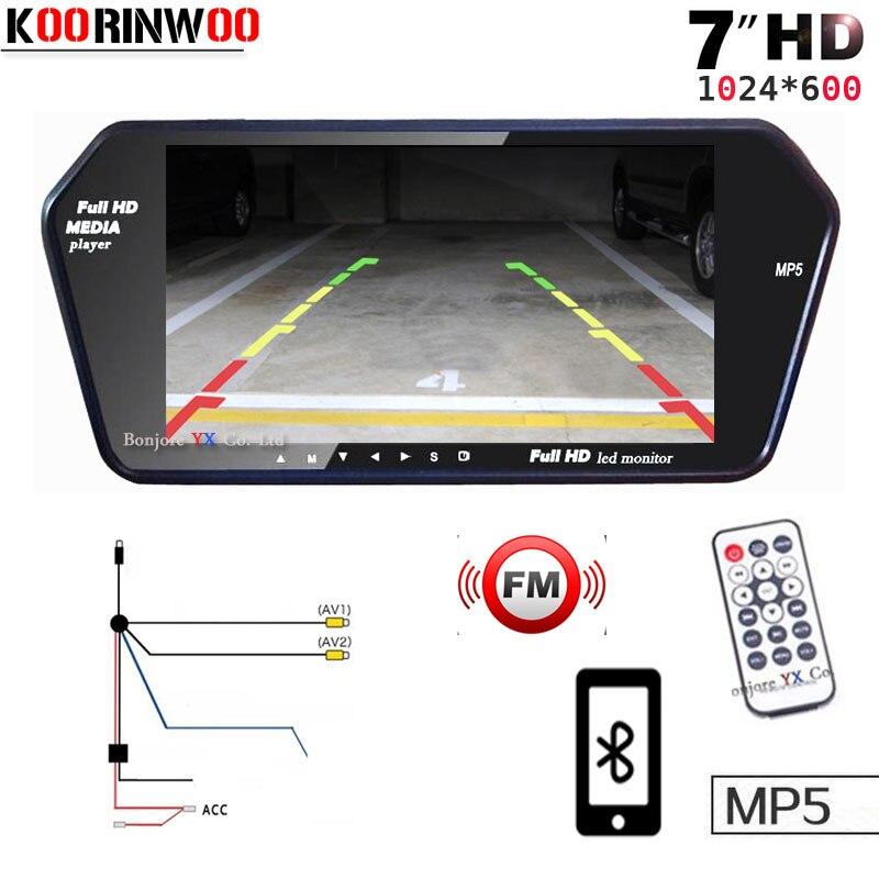 Koorinwoo Haute Résolution 1024x600 TFT LCD 7 POUCES Parking Inverse De Voiture Moniteur Miroir Numérique TF USB Slot Bluetooth MP5 Pour Voiture