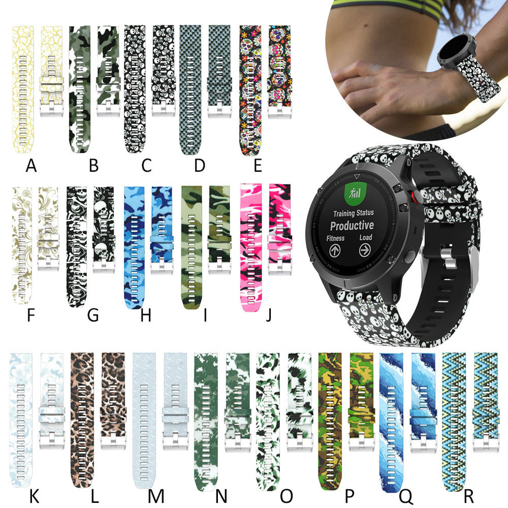 High Quality Watchband 22mm Printing Replacement Silicagel Quick Install Soft Watch Band Strap For Garmin Fenix 5 GPS Watch 2018 outdoor sport strap for garmin fenix 5 metal band with quick fit stainless steel watchband 22mm width for garmin forerunner 935
