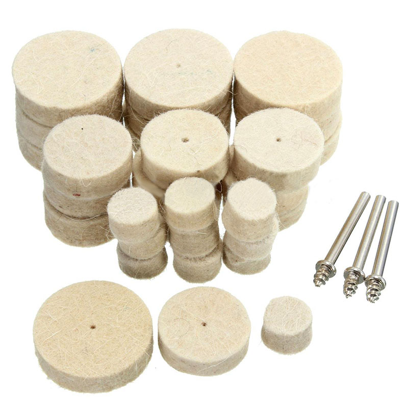 33pcs Wool Felt Polishing Buffing Wheel Mixed Set Accessory 13/25/30mm Dia. With Handles For Rotary Tool Abrasive Tools Mayitr