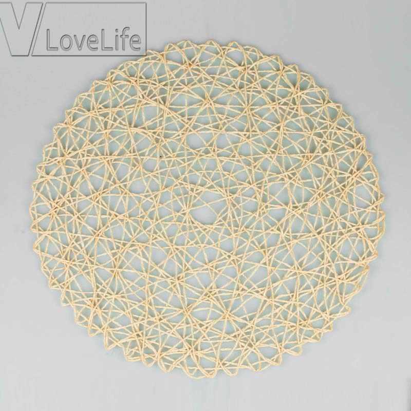 15 pollici Rotondo Tessuto Tovagliette In Fibra di Carta Tovagliette Da Tavola Hollow Decorativa Tovaglietta Da Pranzo Tovagliette Decorazioni
