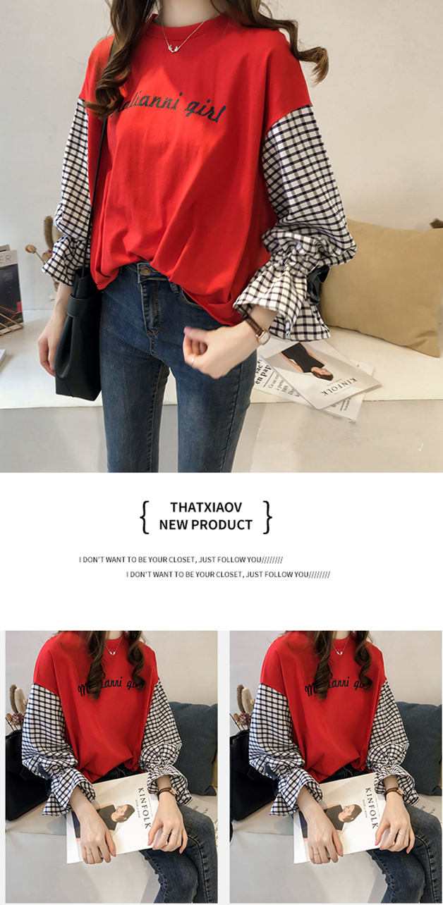 M-4xl Plus Size Cotton Casual T-shirts Women Plaid Patchwork Flare Sleeve O-neck Tshirts Harajuku Fake Two Piece Loose Tees Tops 9