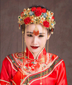 Rich Classical Chinese Beautiful Bride Original Handmade Costume Red Bridal Headwear Accessories Hair Comb Wedding Hair Jewelry