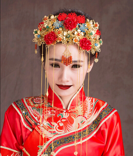 Rich Classical Chinese Beautiful Bride Original Handmade Costume Red Bridal Headwear Accessories Hair Comb Wedding Hair Jewelry