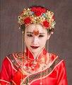 Rico Chinês Classical Bela Noiva Original Handmade Traje Vermelho Nupcial Headwear Acessórios Para o Cabelo Pente Do Cabelo Do Casamento Jóias