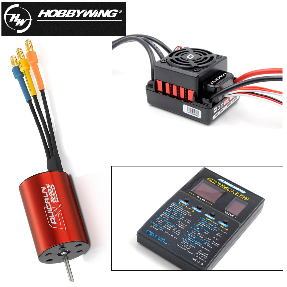1 set D'origine Hobbywing QuicRun WP-16BL30 Brushless Speed Controller 30A ESC + 2435 4500kv moteur + programe carte