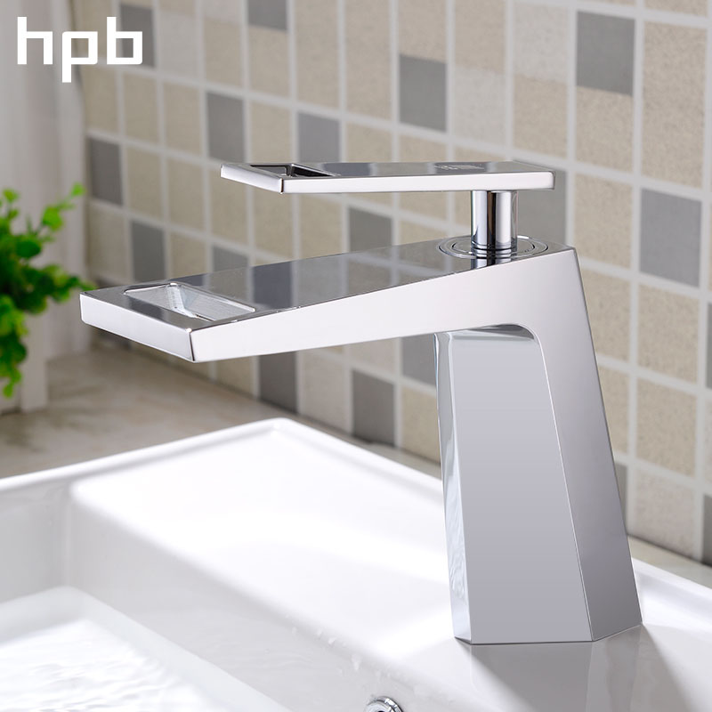HPB Waterfall Basin Faucet Tap Bathroom Water Mixer Deck Mounted Hot and Cold Single Handle Grifo Lavabo Bathroom Sink Tap micoe hot and cold water basin faucet mixer single handle single hole modern style chrome tap square multi function m hc203