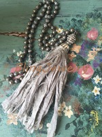 N16101507 Knot Stone Beads Necklace Gray Shabby BoHo Silk Tassel Necklace