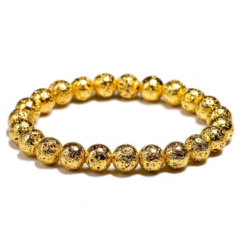 Plating Natural Stone Lava Bracelets Men Fashion 8mm Round Black Beads Elasticity Rope Bracelet for Women Strand Jewelry