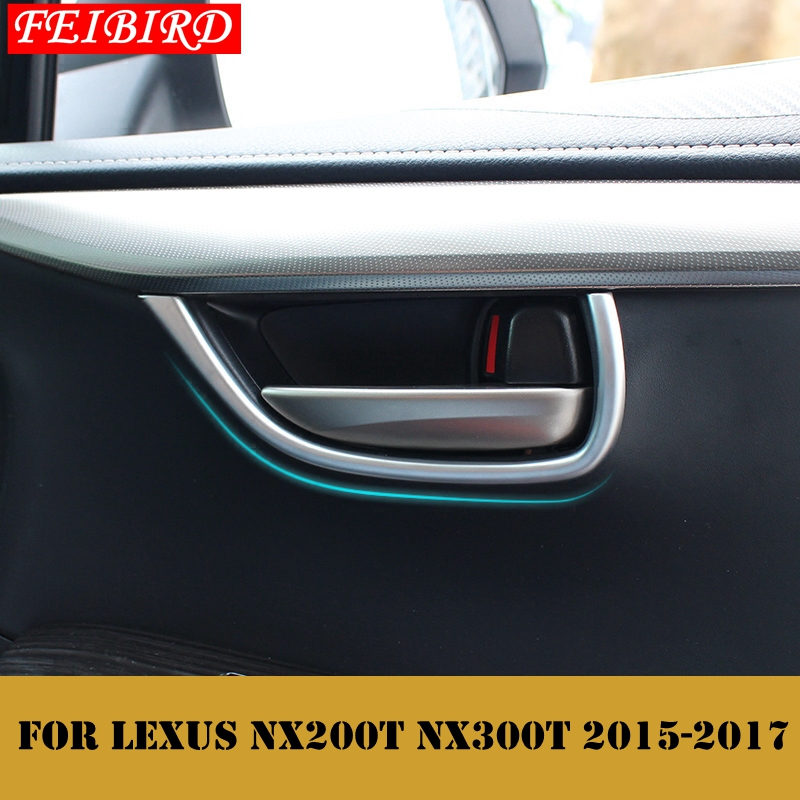 <font><b>Accessories</b></font> For <font><b>LEXUS</b></font> NX <font><b>NX200T</b></font> NX300T <font><b>2015</b></font> 2016 2017 ABS High Quality Inner Car Door Handle Bowl Frame Cover Trim 4PCS image