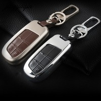 Jingyuqin 2 Button Zinc Alloy Leather Car Key Cover For Jeep Renegade Grand Cherokee Chrysler 300C
