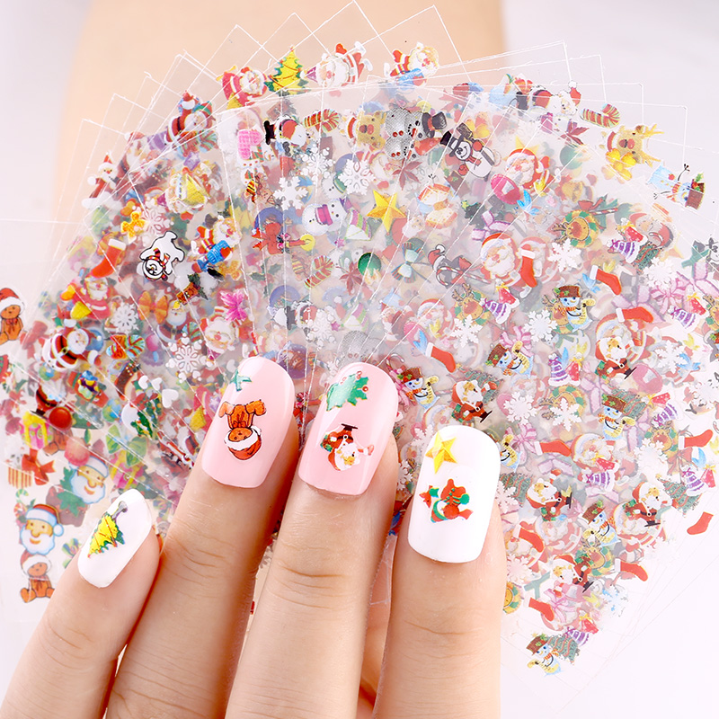 Blueness 24 Pcs/Lot Beauty Christmas Design Bronzing Nail Art Sticker Decals 3D Manicure Stamping Nails Stickers For JH159 Gift 24pcs lot 3d nail stickers beauty summer styles design nail art charms manicure bronzing vintage decals decorations tools jh151
