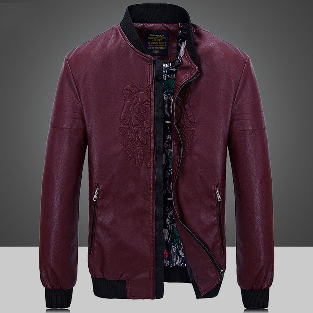 Fashion Color Faux Leather Men Jackets PU Baseball Casual Coats High Quality Fitted Biker Wine red Overcoat Plus size XXXXL 4XL