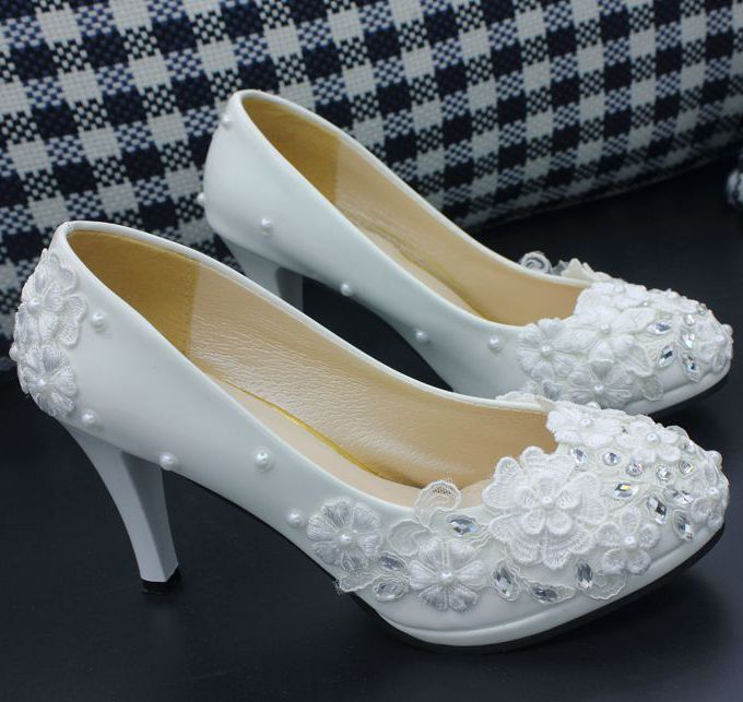 Lace wedding shoes woman's sweet handmade lace flower silver rhinestones brides pumps shoes girl party dress proms shoes