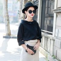 New Spring Women Shirts Full Sleeve 2017 Wide Brought Along Render Business Attire Blouse Shirt Black