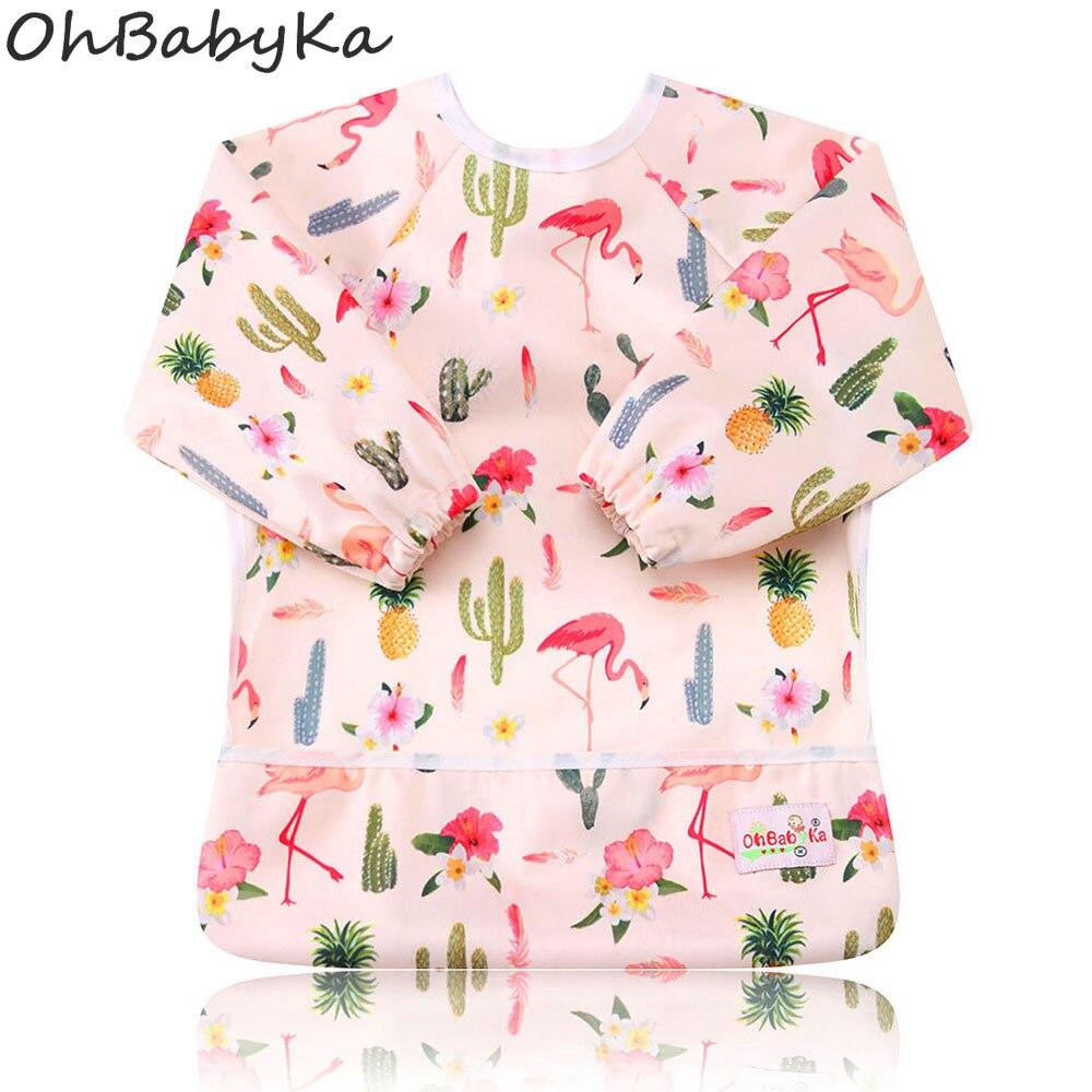 Baby Bib Feeding Waterproof Long Sleeve Shirt Pocket Floral 1 to 3 year Unicorn