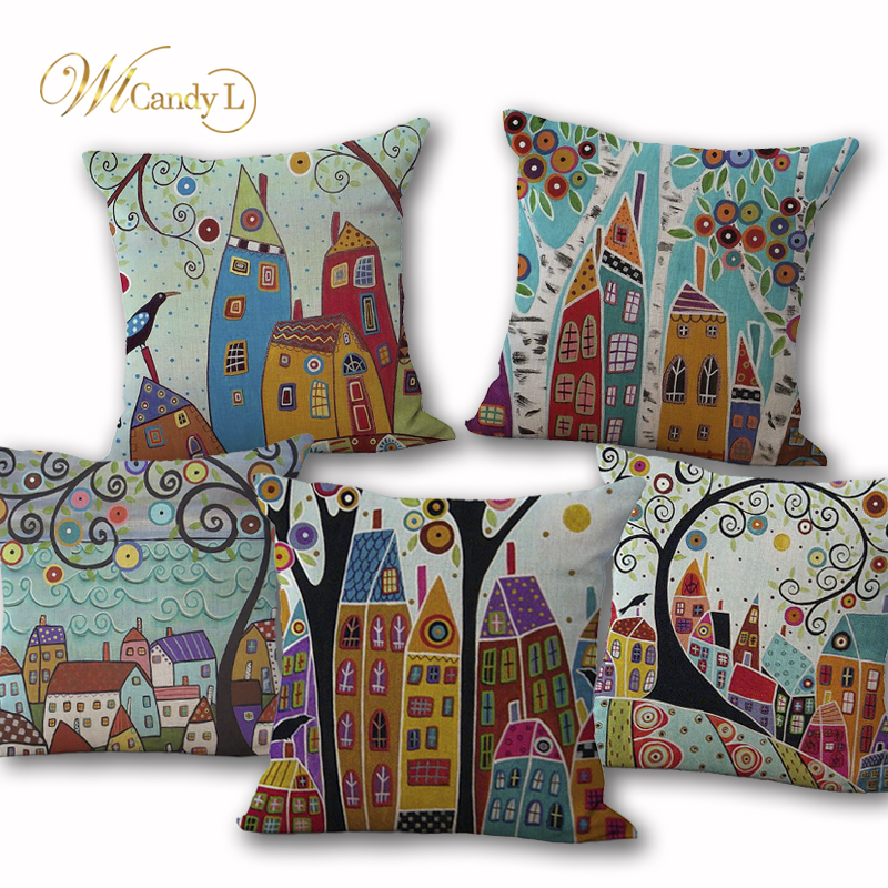 WL Candy L 45*45cm Cartoon Vintage European Building Scenery Cushion Cover Bedroom Sofa Decor Home Decorative Throw Pillow Coves