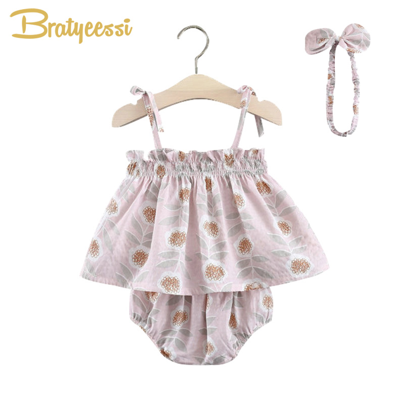 Pink Bow Newborn Clothes Set Cotton Baby Summer Tops Shorts Headband Print Infant Baby G ...