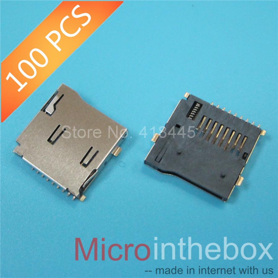 Tf Card Connector High Quality Copper Shell Golden Plate Smd 9pin Push And Lock For Mobile Speaker