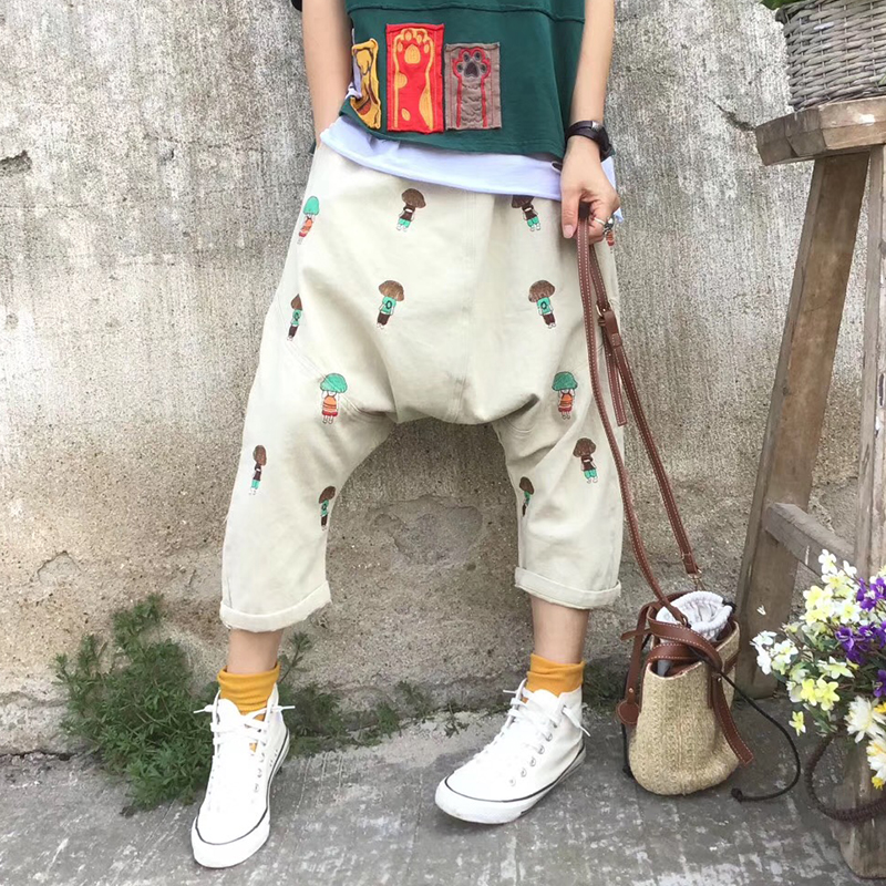 Provided Cute Doll Head Embroidery Elastic Waist Personality Washed Denim Pants Collapse Female Non-Ironing