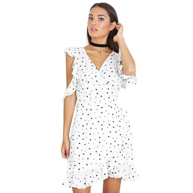 e356e158be Dress 2017 Women Dot Print Ruffle Cold Shoulder Summer Dresses Bow Wrap  Irregular Elegant Chiffon Beach