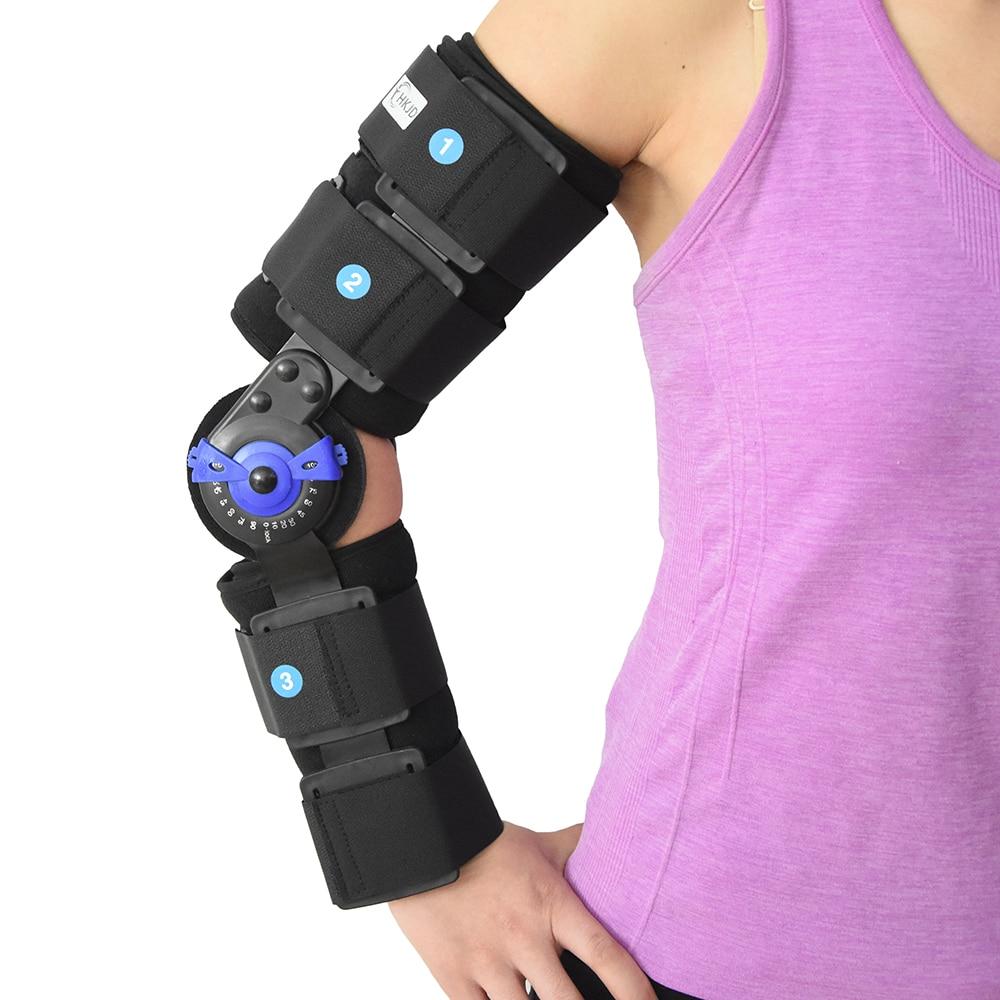 ROM brazo del codo con bisagras soporte de los soportes de la correa de la almohadilla ortopédica-in Abrazaderas y soportes from Belleza y salud    1
