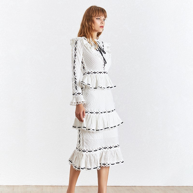TWOTWINSTYLE Vintage Print Women Dress Stand Collar Flare Sleeve High Waist Hollow Out Slim Midi Dresses Female 2019 Summer-in Dresses from Women's Clothing    3
