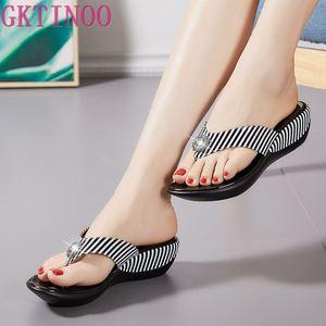 Image 1 - GKTINOO 2020 Summer Platform Flip Flops Fashion Beach Shoes Woman Anti slip Genuine Leather Sandals Women Slippers Shoe