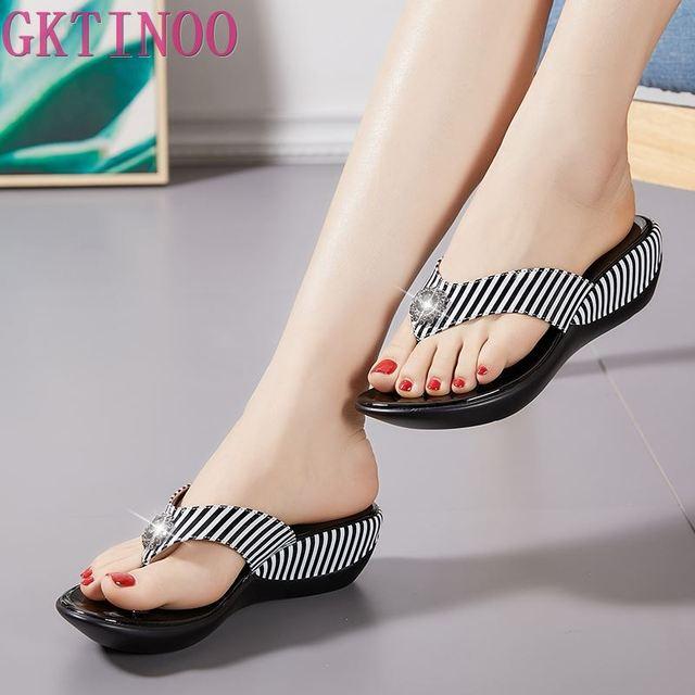 GKTINOO 2020 Summer Platform Flip Flops Fashion Beach Shoes Woman Anti slip Genuine Leather Sandals Women Slippers Shoe