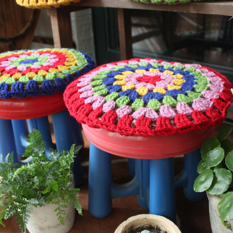 Crochet National Style Handmade Round Bar Stool Cushion Knit Creative Craftwork Throw Pillow Cover 5colors Freeshipping Dropship In From Home