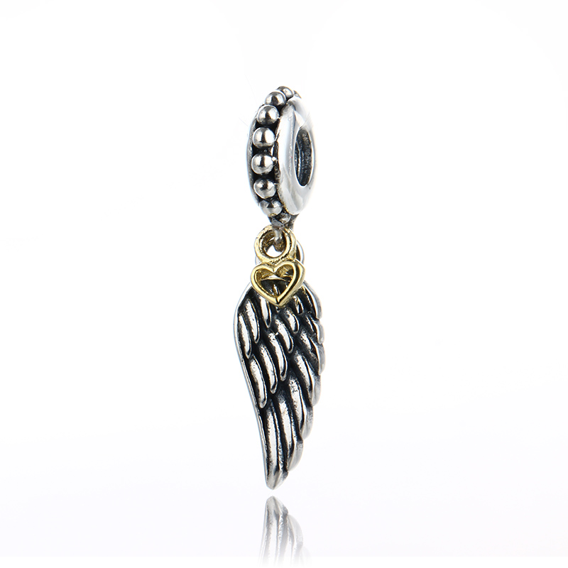 a22c5e1fd 925 Sterling Silver Love And Guidance Angel Wing Charm Wholesale Jewelry  Silver Beads ...