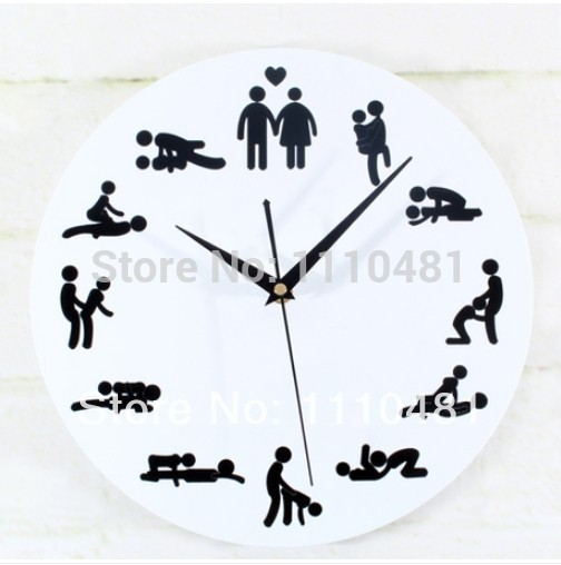Modern Round Creative Lock Art Hang Decorative Novelty Sex Clock Funny Sexy  Position Pattern Wall Clock