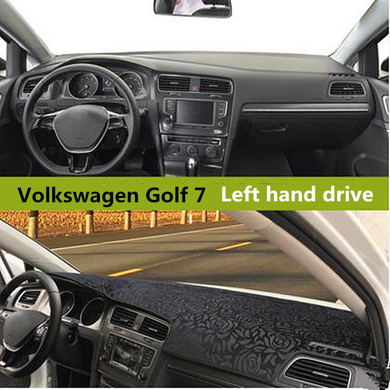 Rose style Car dashboard Heat-Resistant cover for Volkswagen Left hand drive Auto dashboard Mat for Volkswagen Golf 7