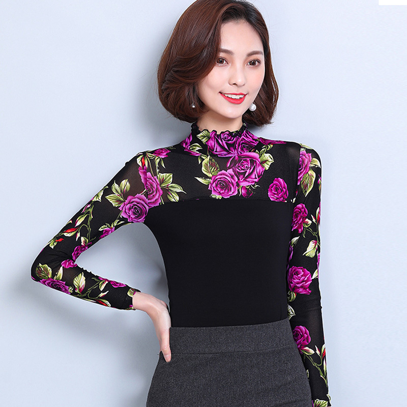 Spring Autumn Women Tops Fashion Lace Blouse Long Sleeve
