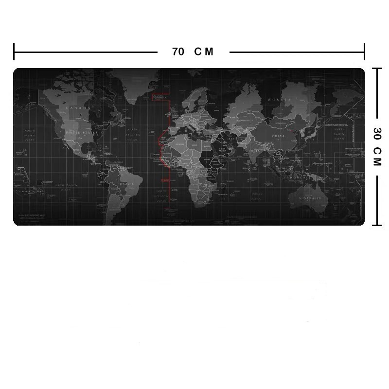 70*30 cm Mouse Pad World Map pad Anti-slip Natural Rubber Gaming Mat with Locking Edge for Office/Game/Desktop