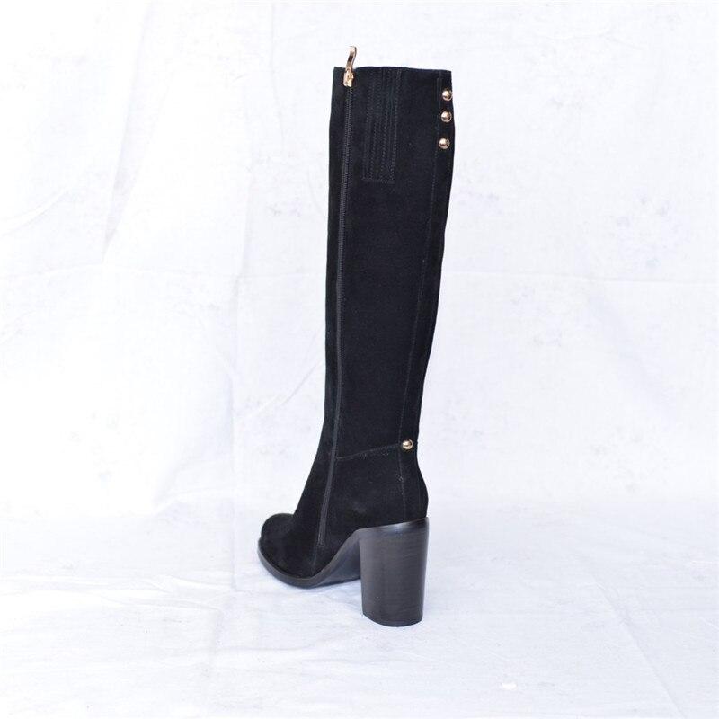 2018 Chaud Fourrure Doublé Cuir Hiver Suédé Au Black Genou Pritivimin Talon Épais Mode Haute Chaussures Fn65 Super Véritable grey Femme Boot 1nZW5F6q
