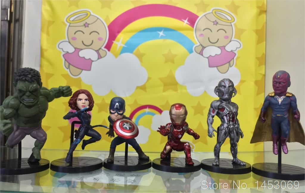 Marvel Avengers 2 Age of Ultron Hulk Black Widow Vision Ultron Iron Man Captain America PVC Figures Toys 6pcs/set KT1687  kids nations avengers age of ultron hulk buster iron man thor captain america q version action figures 5pcs set kb0383