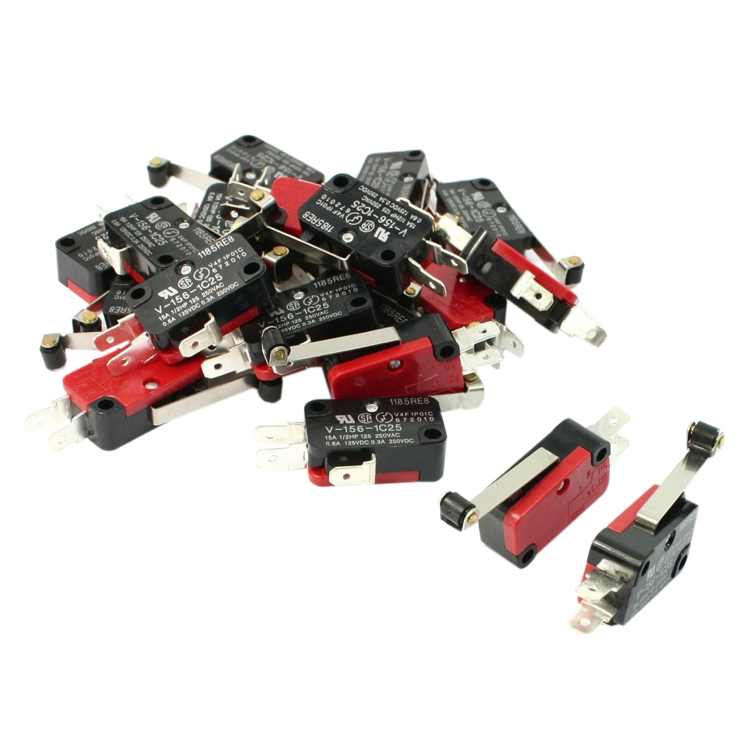 20 Pcs V-156-1C25 Micro Limit Switch Long Hinge Roller Lever Arm SPDT