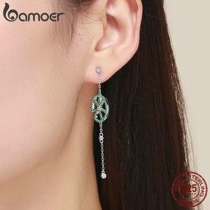 Image 5 - BAMOER Authentic 925 Sterling Silver Jumping Frog Green Zircon Drop Earrings for Women Long Chain Animal Earrings Jewelry BSE027