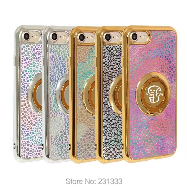 Для iPhone 7 Plus 7 Plus 6 6 S Huawei P9 Lite P10 Гальванизируйте Bling мягкий чехол TPU камень зерна Бесплатная Стиль Стенд кожного покрова 50 шт.