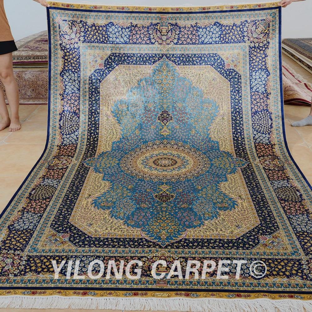 Yilong 6'x9 'Vantage kézzel csomózott kék szőnyeg medál kézzel - Lakástextil